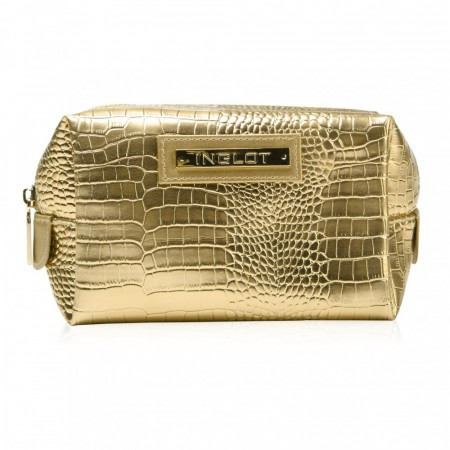 Cosmetic Bag Crocodile leather Gold Large