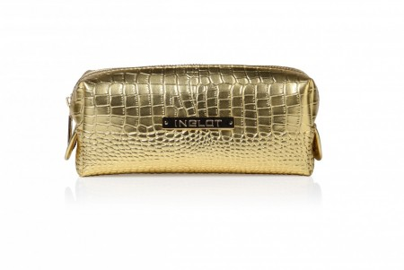 Cosmetic Bag Crocodille Leather Gold
